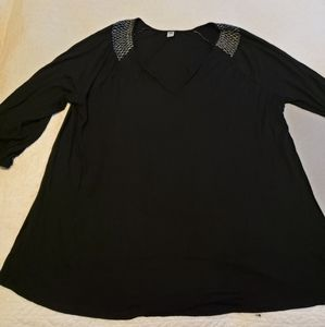 Old Navy black blouse, silver stitching 4x plus